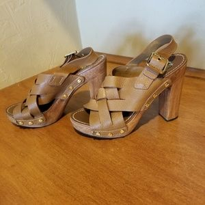 Authentic Tory Burch Leather Platform Heels